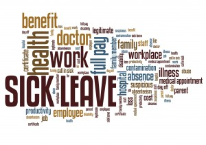 Sick leave - employment issues and concepts word cloud illustration. Word collage concept.