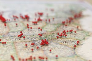 Red pins show locations across a USA map in South Carolina USA